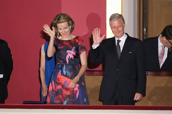 Queen Mathilde of Belgium and King Philippe of Belgium attend a concert prelude by the Belgian National Orchestra on the eve of Belgium's National Day