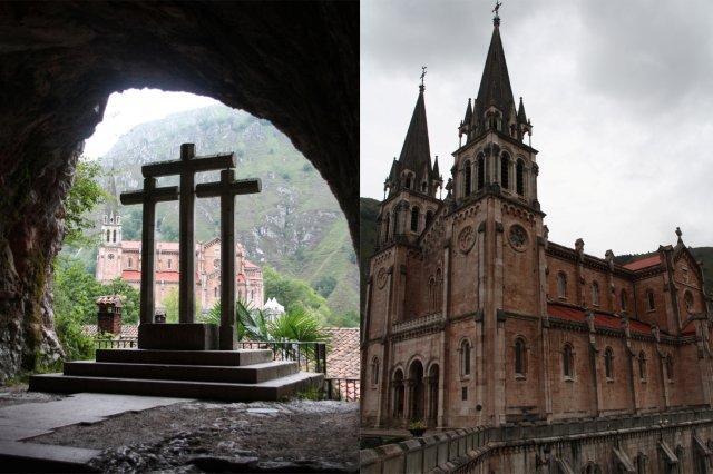 Basilica de Santa Maria la Real de Covadonga desde la Santa Cueva y Basilica de Santa Maria la Real de Covadonga, Asturias