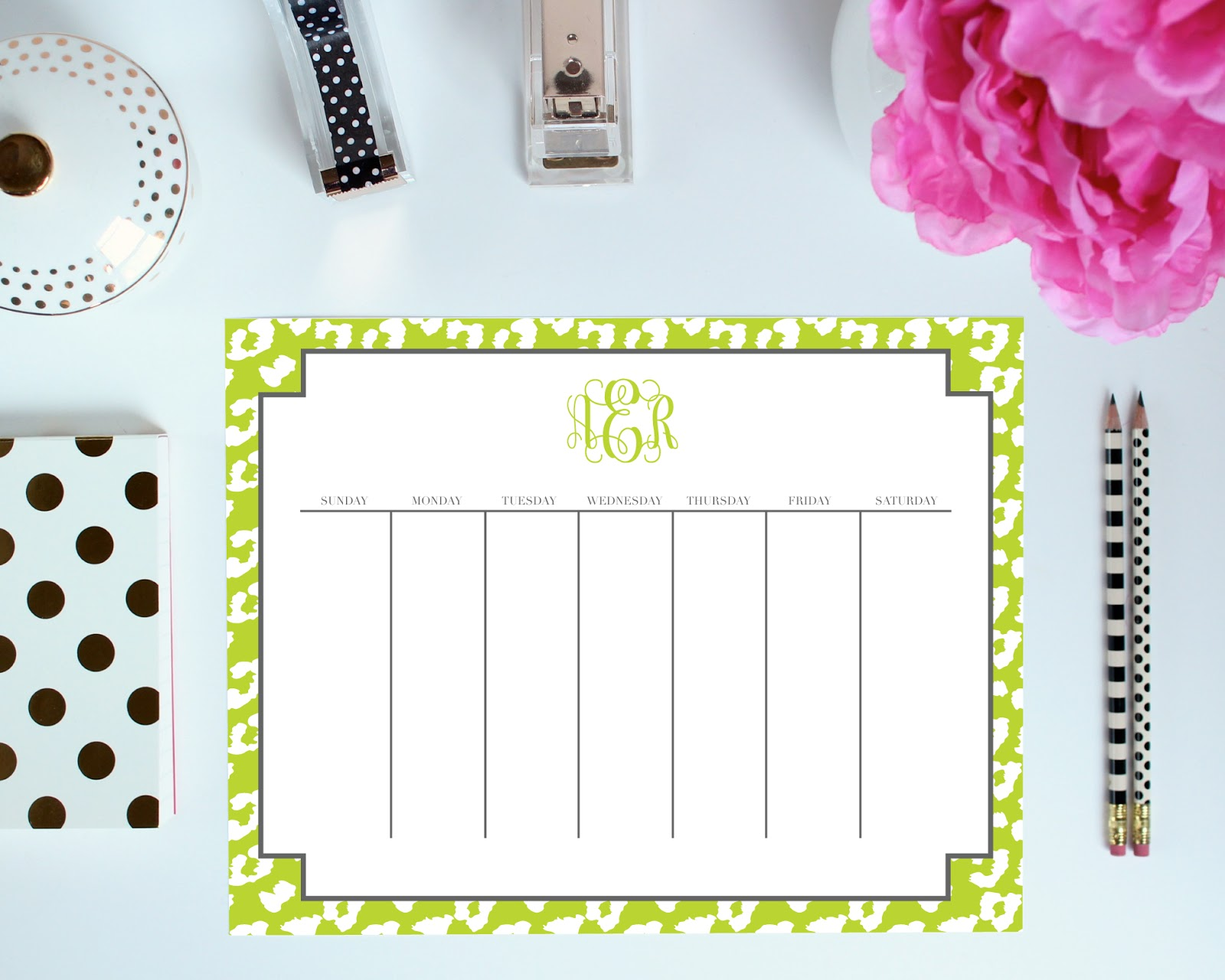 Weekly Layout - Printable Organization Pages can be customized with your monogram. You pick the colors, frame, font, and more!