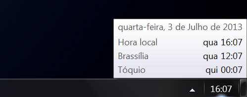 Fusos horários no Windows