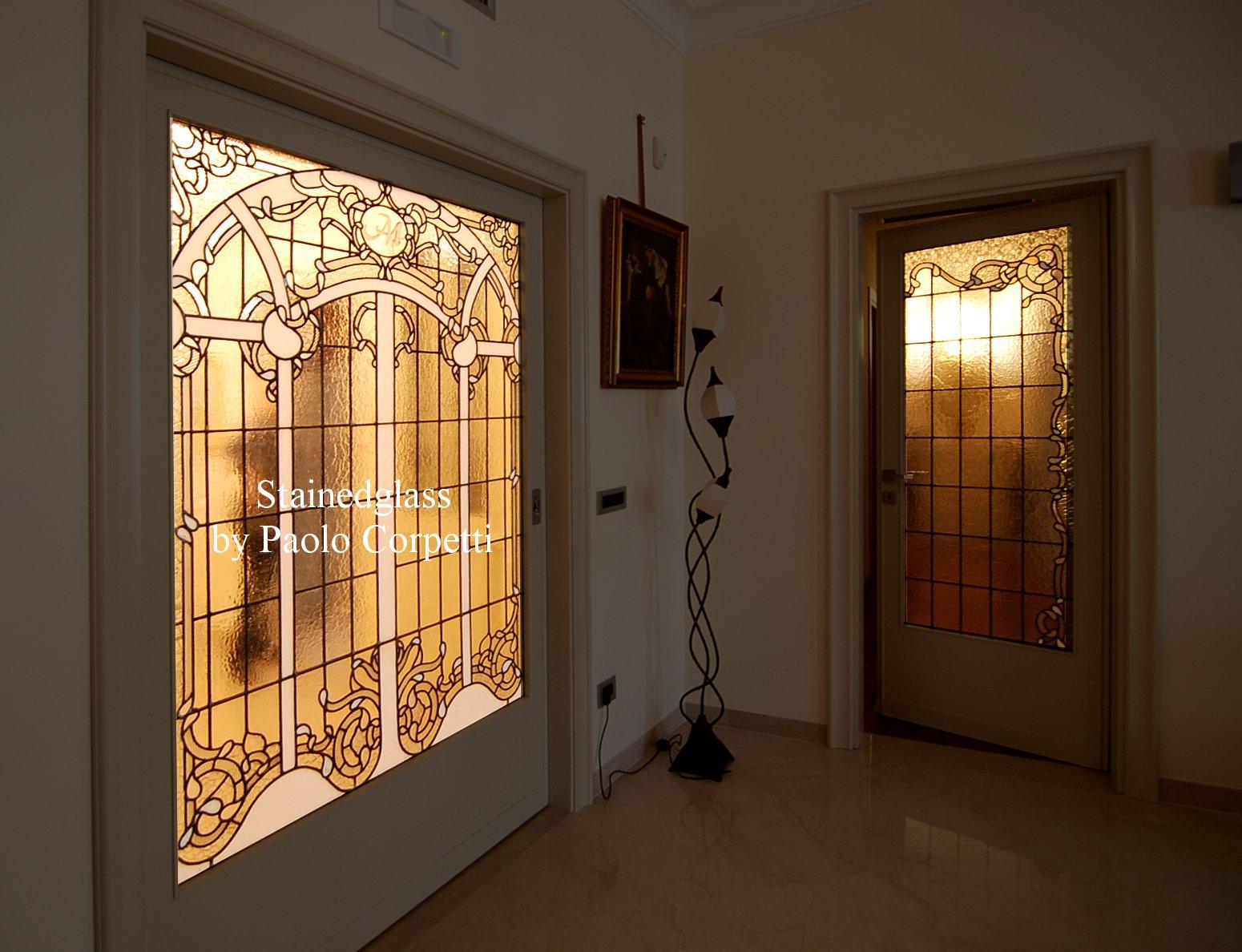 Vetrate artistiche roma by paolo corpetti vetrata bianca for Porte in vetro per cappelle cimiteriali