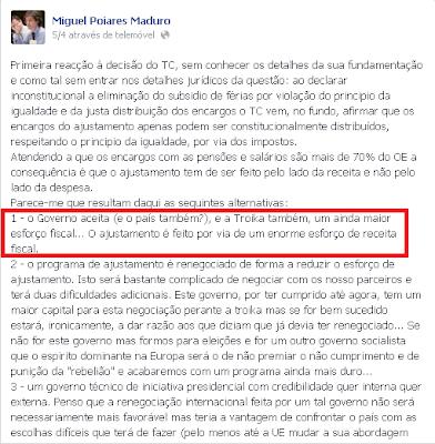 Poiares Maduro era até há 5 dias a favor da queda do Governo