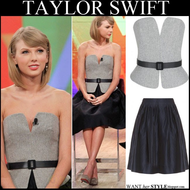 Martin Grant in grey belted bustier with black pleated skirt by Martin Grant The View october 29 2014