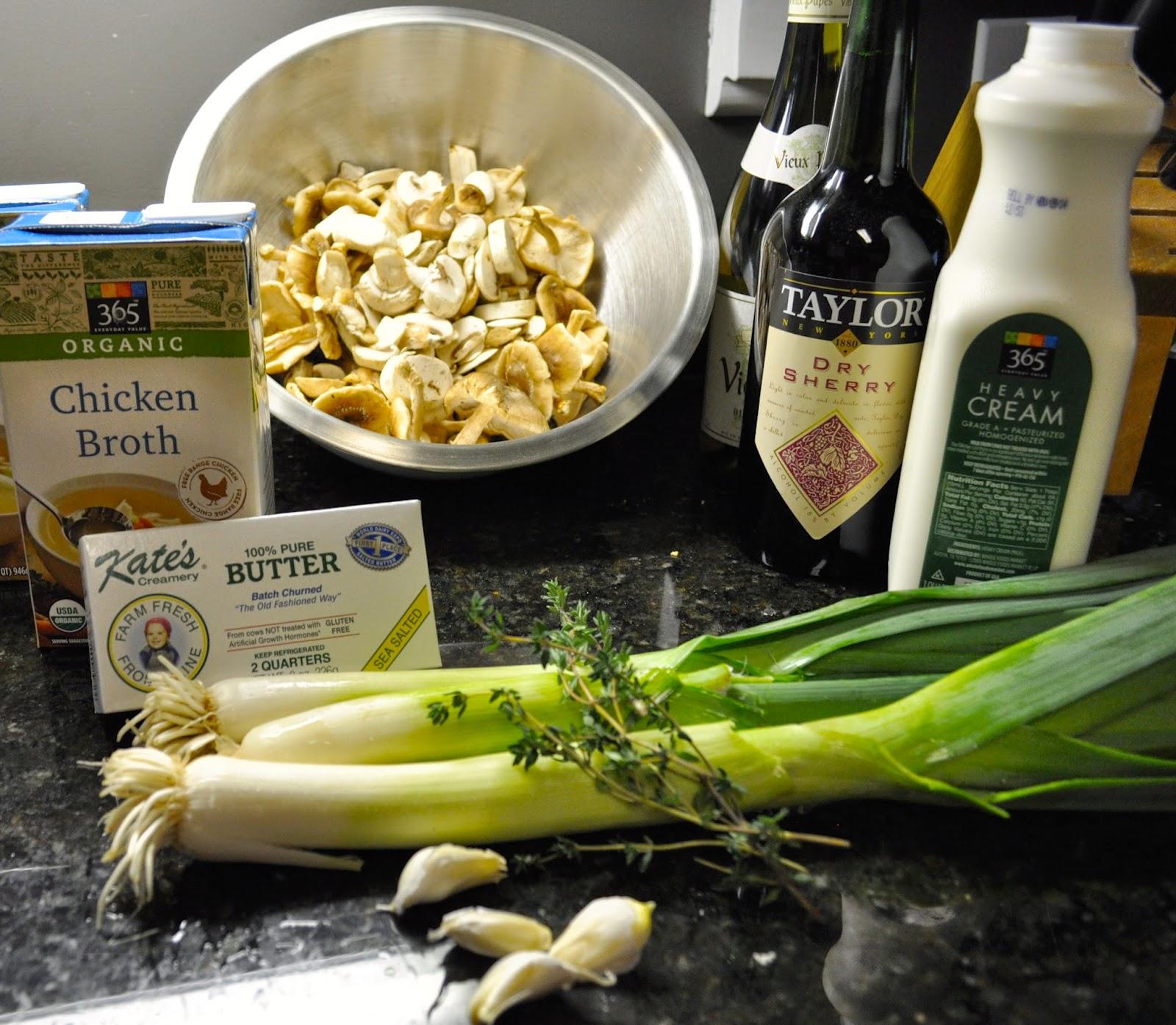 wild mushrooms, Leeks, Garlic, Heavy cream, Butter, Dry white wine ...