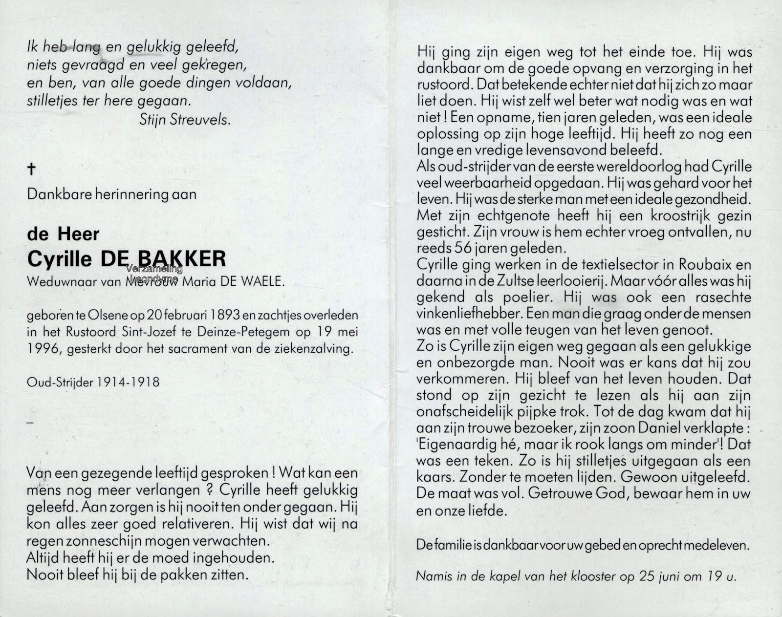 Bidprentje, Cyrille De Bakker 1893-1996. Verzameling Leondyme.