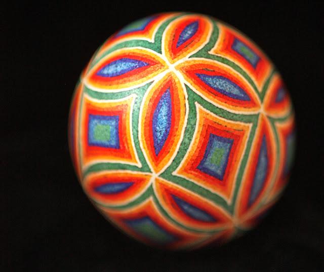 Rainbow-Hued Pysanky Geometric Design