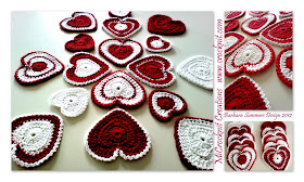 crochet patterns, hearts, heart garland, heart motifs, heart bunting,