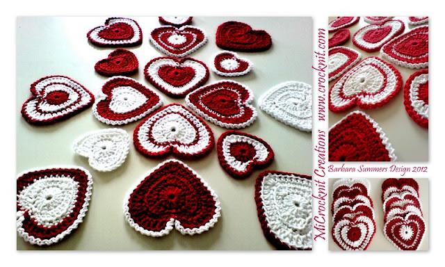 crochet patterns, hearts, heart garland, heart motifs, heart bunting,