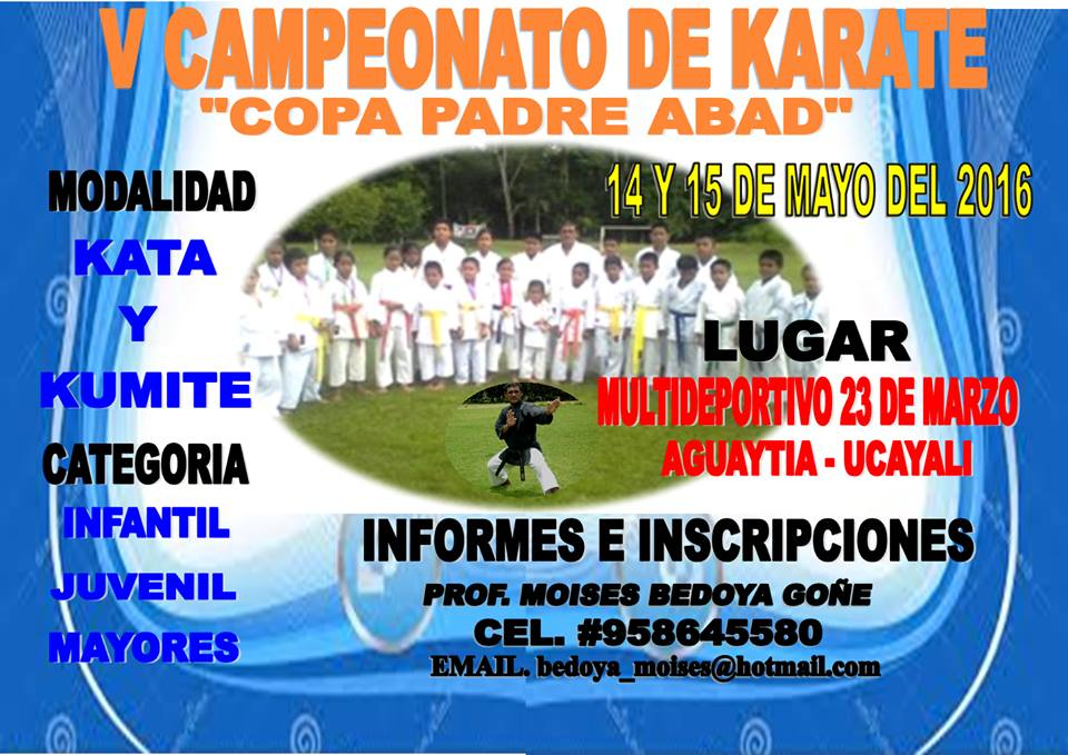 "V CAMPEONATO DE KARATE ""Copa Padre Abad"" Ucayali-Perù"