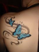 Tatouage papillon bleu épaule (tatouage papillon)