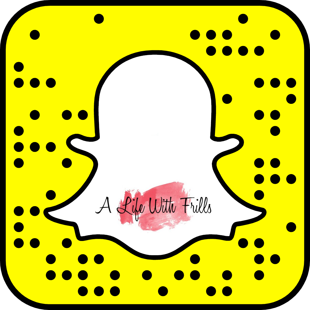 FOLLOW ALIFEWITHFRILLS ON SNAPCHAT