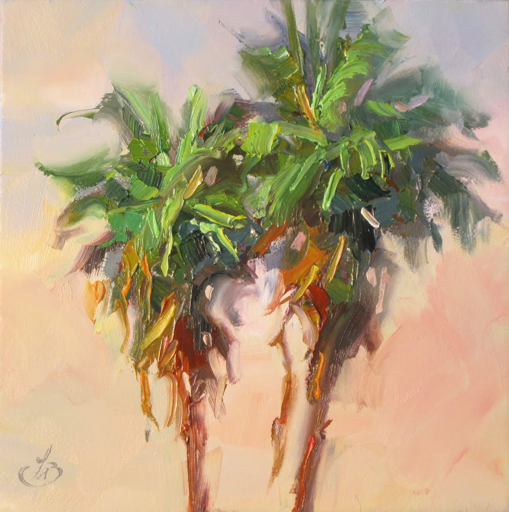 TOM BROWN FINE ART: PALM TREES, 6x6 INCH OIL PAINTING BY TOM BROWN