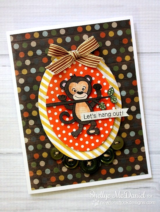 Monkey Card by Shellye McDaniel for Newton's Nook Designs | Hanging Around Stamp Set