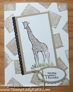 Acrylic block background stamping on a card with the giraffe from Stampin'UP!'s Zoo Review stamp set.