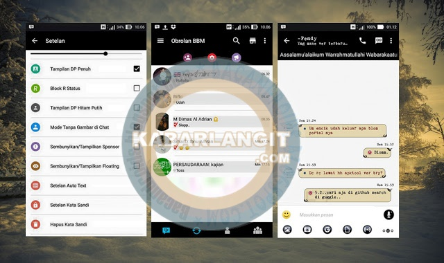 Download BBM Mod Thema Black Minimalis BB Versi 2.11.0.16 Apk