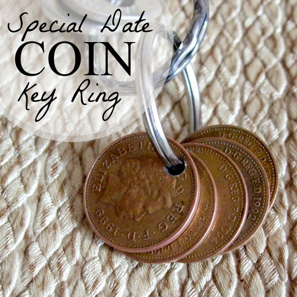 Penny coin key ring with commemorative dates