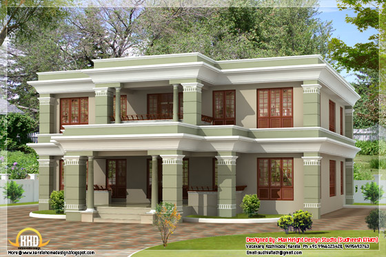 2950 square feet flat roof house elevation
