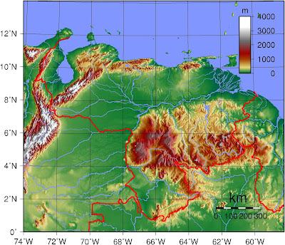 Mapa topográfico de VENEZUELA, (wikipedia)