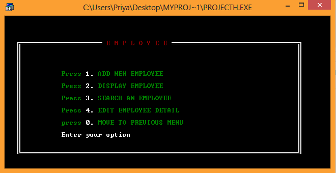 Payroll management system employee Menu