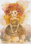 Mitzi Sato-Wiuff's Grumpy Fae with Acorn on a Mushroom