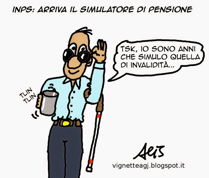 pensione, INPS, satira, vignetta