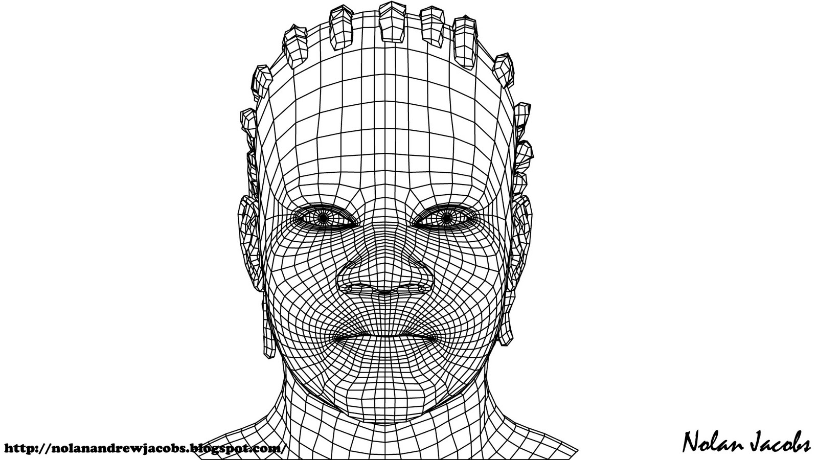 Nolan Jacobs Art Blog: #1 Male Head Modelled/ Wireframe