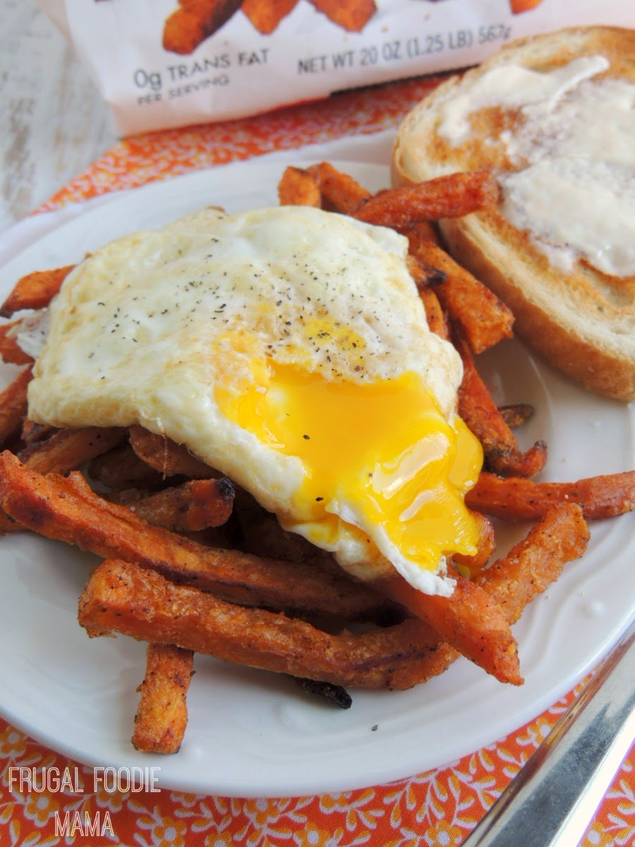 Spicy Sweet Potato Fries Brinner Hash using Alexia Spicy Sweet Potato Fries