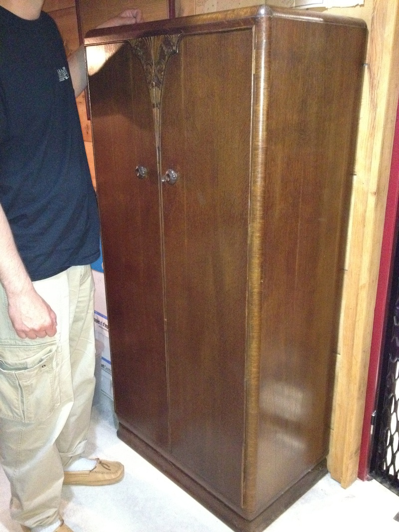 antique hunter art deco armoire wardrobe for sale. Black Bedroom Furniture Sets. Home Design Ideas