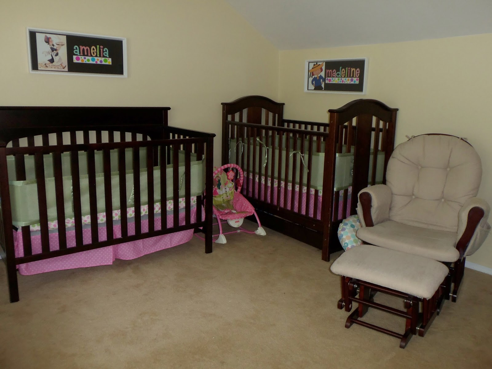 Crib for triplet babies - Finally James Crib Is In The Corner This Crib Also Has A Polka Dot Sheet And A Green Mesh Bumper Above Each Crib Hangs The Custom Name Art I Made