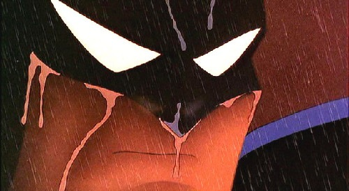 Batman crying in Batman: Mask of the Phantasm 1993 animatedfilmreviews.blogspot.com