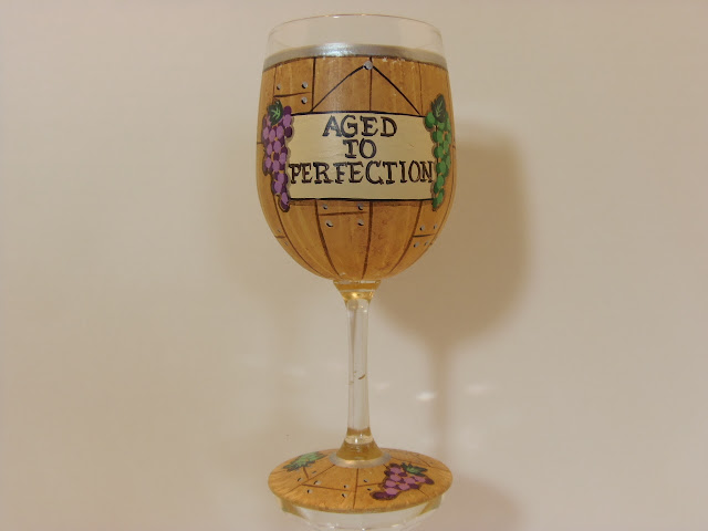 Wine Barrel Painted Wine Glass