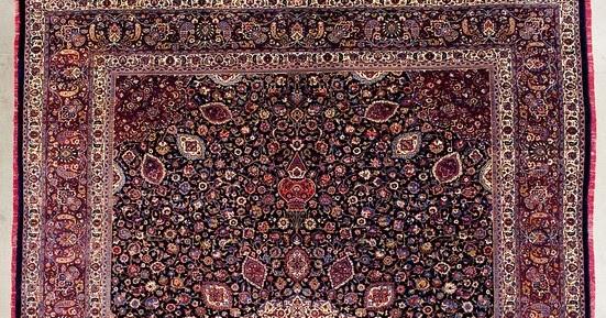 Rug Master Antique Signed Amoghli Mashad Carpet Rug