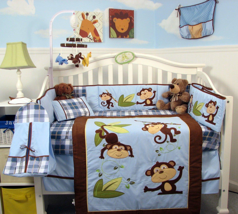 Baby Boy Monkey Bedding Crib Set