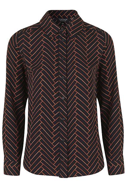 black orange pattern shirt, black chevron shirt,