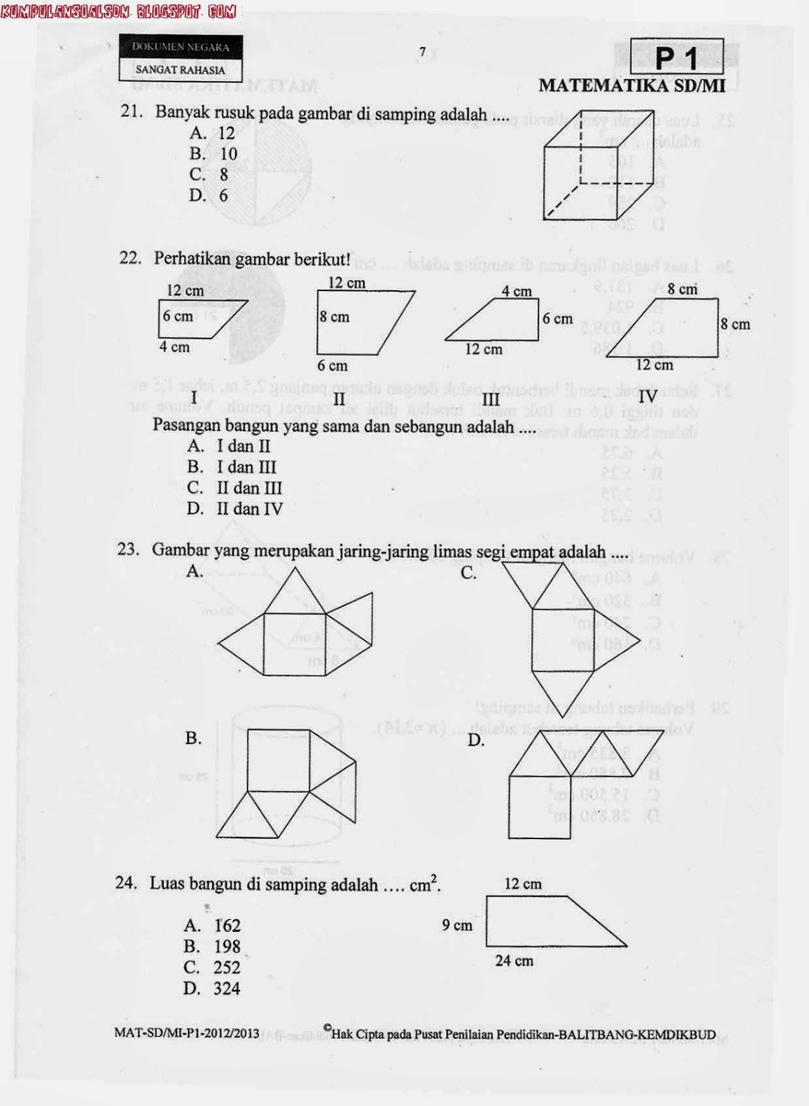 Soal Un Utama Matematika Kelas 6 Sd Ta 2012 2013 Kumpulan Soal Sd