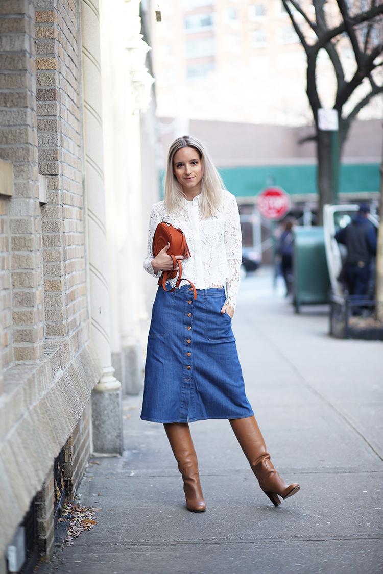 How To Wear An A Line Denim Skirt | Jill Dress