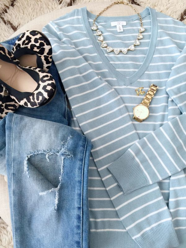 Fall fashion - striped sweater, ripped jeans, leopard flats and statement necklace