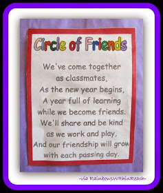 Starting School Friend Poem from Back to School Bulletin Board RoundUP at RainbowsWithinReach