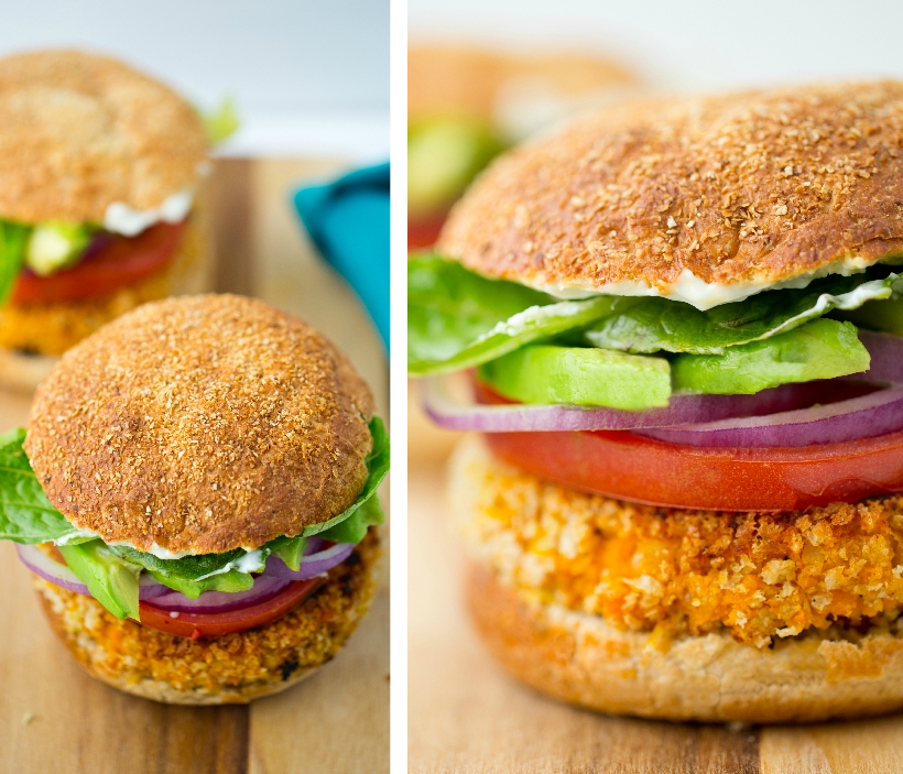Kathy's famous sweet potato veggie burger with avocado from HHVK