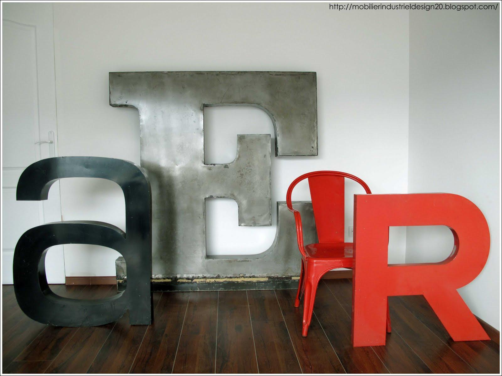 Lettres d 39 enseigne vintage mobilierdesign20lettresenseigne lettre d 3 - Enseigne de decoration ...