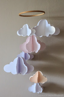 agencer et mijoter diy mobile nuage en papiers pour melody. Black Bedroom Furniture Sets. Home Design Ideas