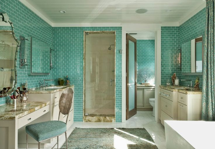 La maison boheme ode to blue green tile bathrooms for Sea glass bathroom ideas