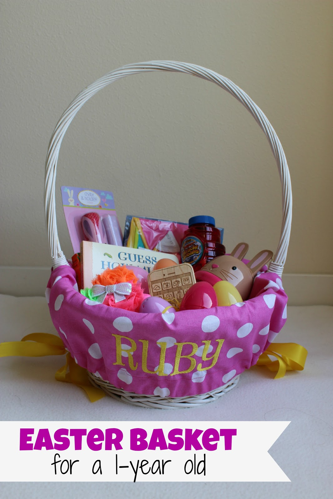 We g three rubys first easter basket a basket easter grass and easter eggs when i was growing up we got a new basket every year while that was cool negle Choice Image