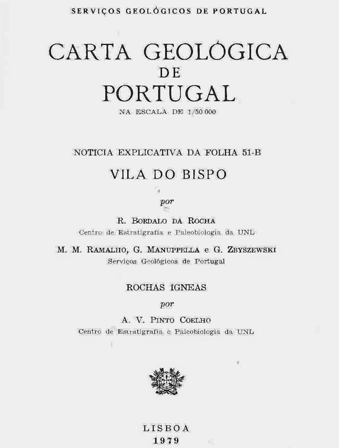 Notícia Explicativa da Carta Geológica de Vila do Bispo (Folha 51-B - 1979)
