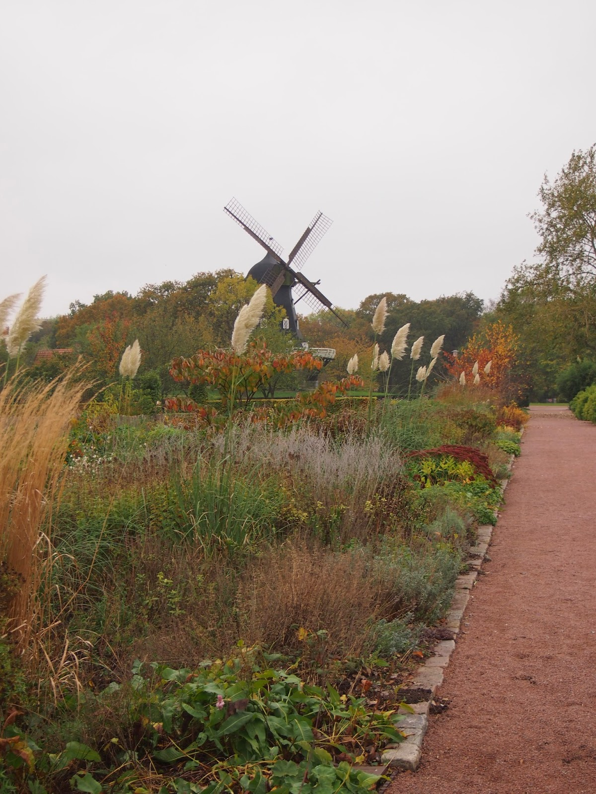an old-style windmill on the Kings Garden Castle grounds in Malmo