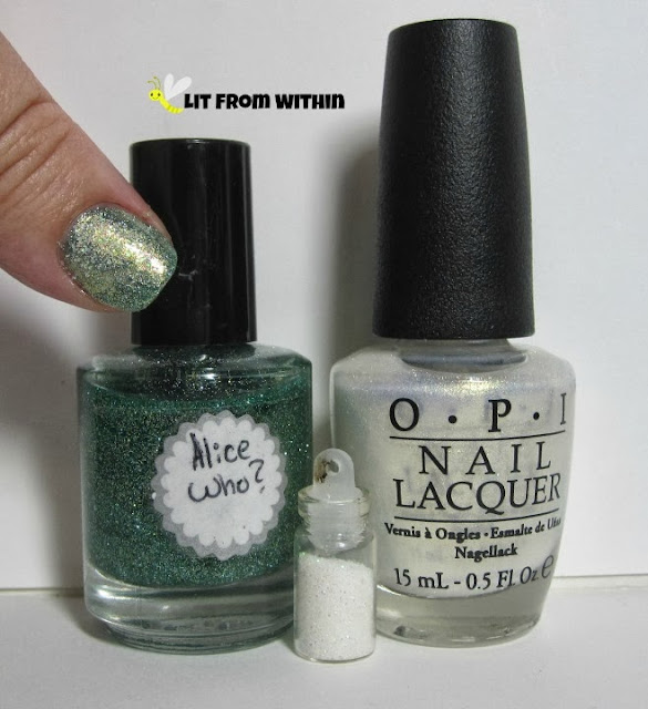 Bottle shot:  Alice Who? (Unknown Indie), OPI Ski Slope Sweetie, and some glitter.