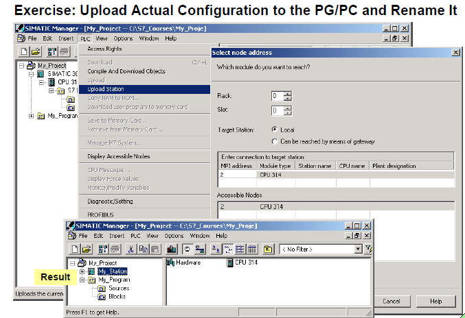 Upload Actual Configuration to the PG/PC and Rename It