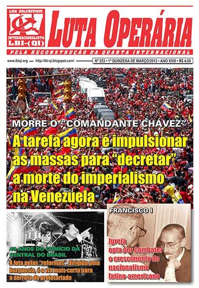 LEIA A EDIÇÃO DO JORNAL LUTA OPERÁRIA, Nº 253, 1ª QUINZENA DE MARÇO/2013