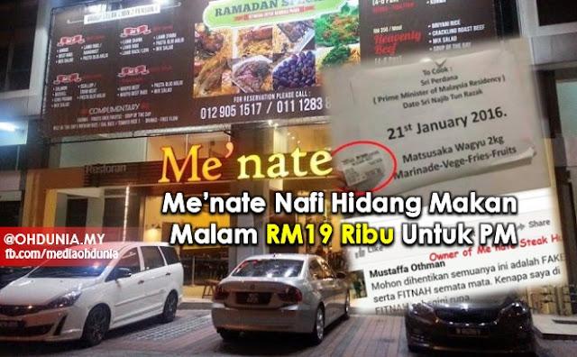 Me'nate Nafi Hidang Makan Malam RM19 Ribu Untuk Najib