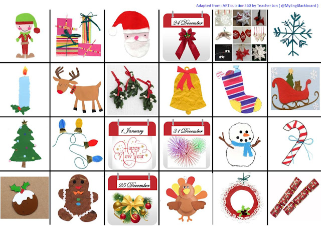 Christmas Vocabulary Coloring Pages